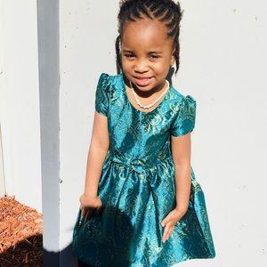 Emerald Green & Gold Dress